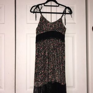 BEBE floral with black lace maxi dress
